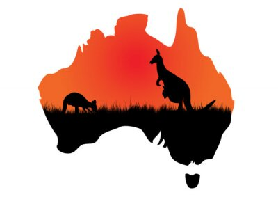 Nálepka Australský mapa s kangaaroo