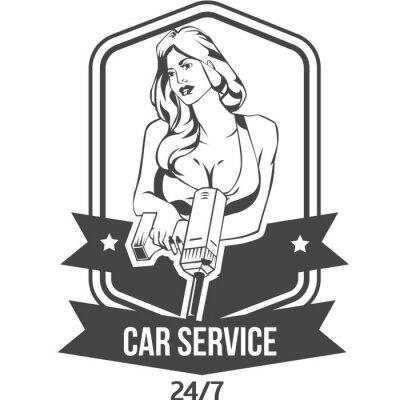 Nálepka Autoservis retro vinobraní odznak se sexy žena drží vrtačku