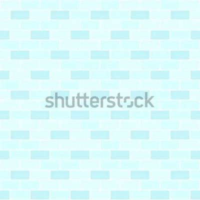 Nálepka Azurová cihlová zeď vzor. Bezešvá vektorová cihla pozadí