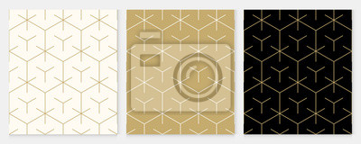Nálepka Background pattern seamless geometric line abstract gold luxury color vector. Christmas background.