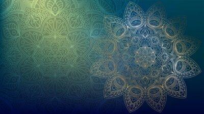Nálepka Background with golden mandalas, round indian pattern, muslim pattern