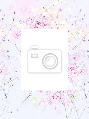 Background with tiny white and pink flowers, blurred, selective focus.Square composition used.