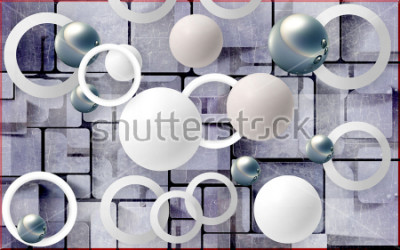 Nálepka Balls and circles on an abstract background. Photo wallpaper for wall. 3D rendering.
