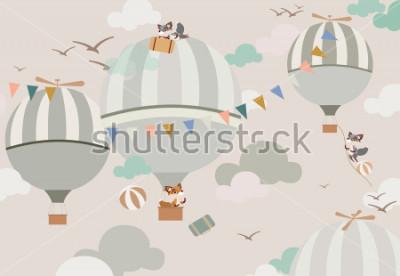Nálepka balónky na obloze k liškám v jemných tónech