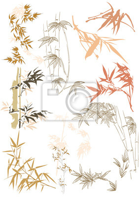 Nálepka Bamboo icons vector. Hand drawn leaves in Japanese and Asian style.