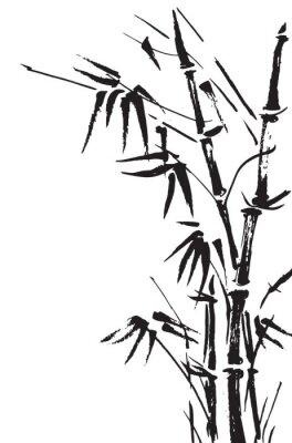 Nálepka Bambusové větve izolovaných na bílém pozadí. Vektor