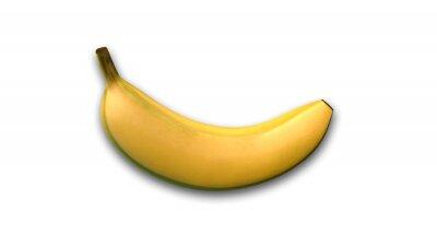 Nálepka Banán, tropické ovoce na bílém pozadí, pohled z boku
