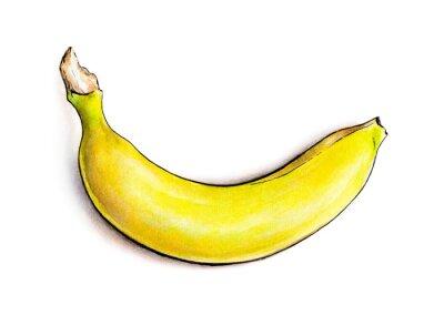 Nálepka Banana na bílém pozadí. Akvarel ilustrace. Tropické ovoce