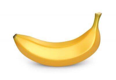 Nálepka Banana ovoce, 3D ikony. Ilustrace na bílém pozadí