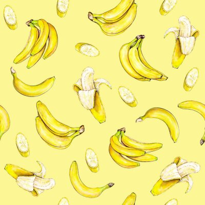 Nálepka Banány na žlutém pozadí. Bezešvé vzor. Akvarel ilustrace. Tropické ovoce. Ruční práce