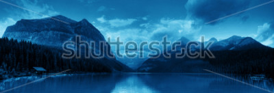 Nálepka Banff national park Lake Louise sunrise panorama with mountains and forest in Canada.