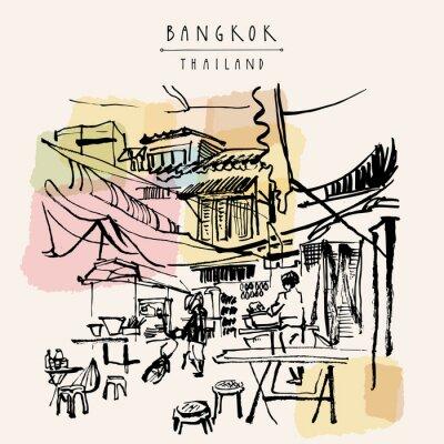 Nálepka Bangkok Thailand ručně malovaná pohlednice