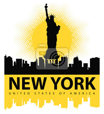 Nálepka banner s Socha svobody na pozadí New Yorku, a slunce
