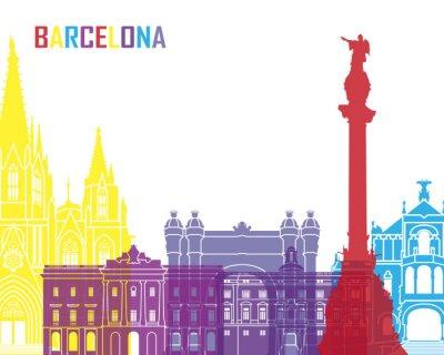 Nálepka Barcelona Skyline pop