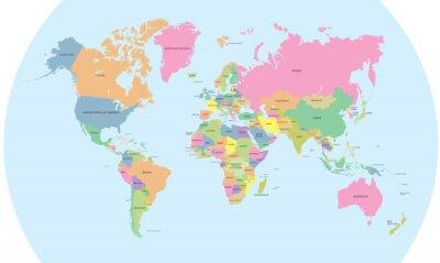 Nálepka Barevná politická mapa světa vektoru