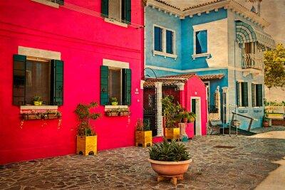 Nálepka Barevné činžovní dům v Burano, Itálie 1