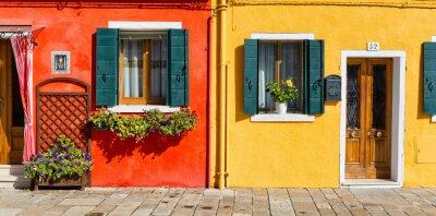 Nálepka Barevné fasáda domu v Burano, Itálie