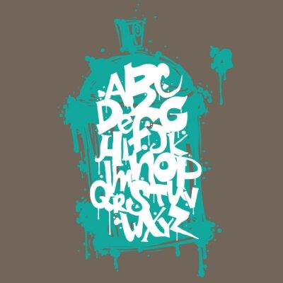 Nálepka Barevné graffiti písmo abecedy. Hip hop graffiti designu
