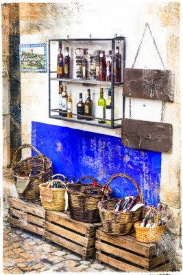 Nálepka barevné obchody staré město Obidos v Portugalsku, umělecký obraz