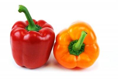 Nálepka barevné papriky na bílém pozadí