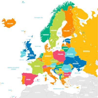 Nálepka Barevné vektorové mapy Evropy
