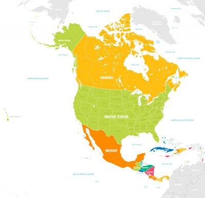Nálepka Barevné vektorové mapy Severní a Střední Ameriky