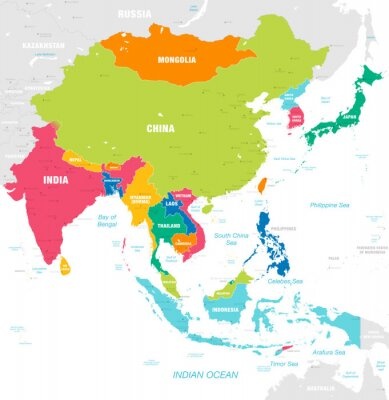 Nálepka Barevné vektorové mapy východní Asie