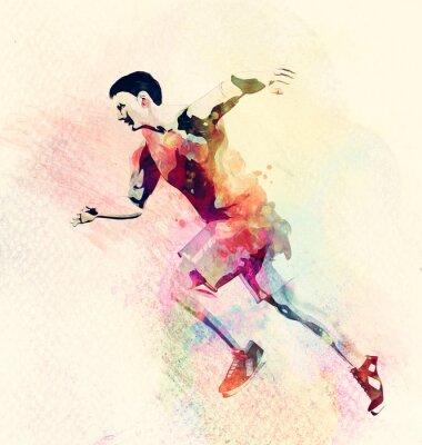 Nálepka Barevný akvarel malba muž běží. Abstract creative sportovní zázemí