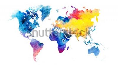 Nálepka Barevný akvarel mapa světa.