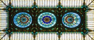 Nálepka Barevný barevný strop v květinovém secesním stylu