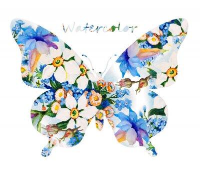 Nálepka Barevný motýl na bílém pozadí