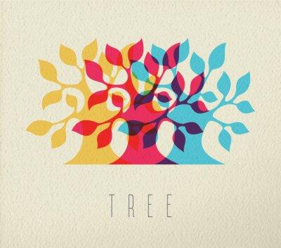 Nálepka Barevný strom silueta koncepce pozadí