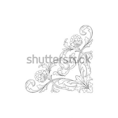 Nálepka Barokní ozdoba s filigránem ve vektorovém formátu pro design rámu, vzor. Vintage ručně tažené viktoriánské nebo damaškové květinový prvek. Černobílé ryté inkoustové umění.