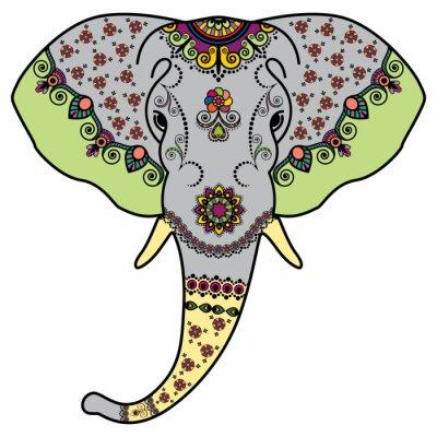 Nálepka Barva sloní hlavu v Mehndi indickém stylu. Vektorové ilustrace na bílém pozadí