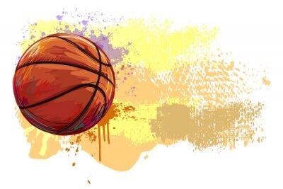 Nálepka Basketbal Banner. Všechny prvky jsou v samostatných vrstvách a seskupeny.