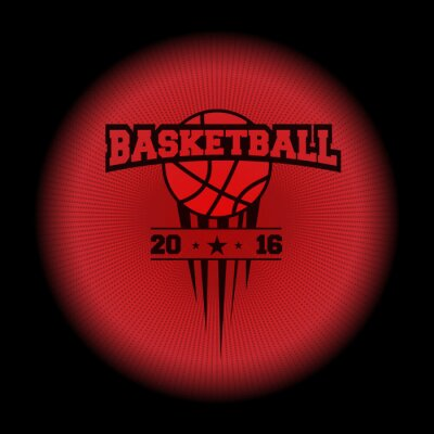 Nálepka basketbal, sportovní logo. emblém objevit z temnoty. Perfektní na černém tričku! vektor