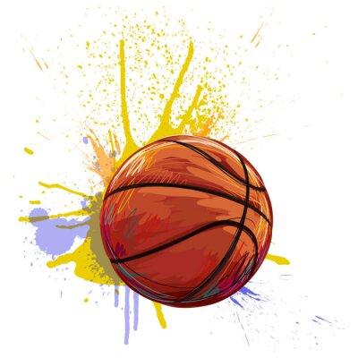 Nálepka Basketbal Vytvořil profesionálních umělců. Tento obrázek je vytvořen Wacom tabletby pomocí grunge textur a štětce