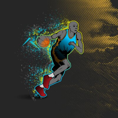 Nálepka Basketbalista driblování míčem