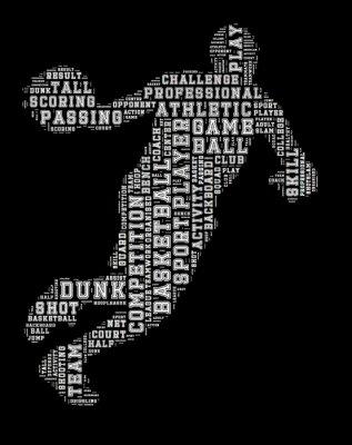 Nálepka Basketbalista slovo mrak, basketbal typografie pozadí