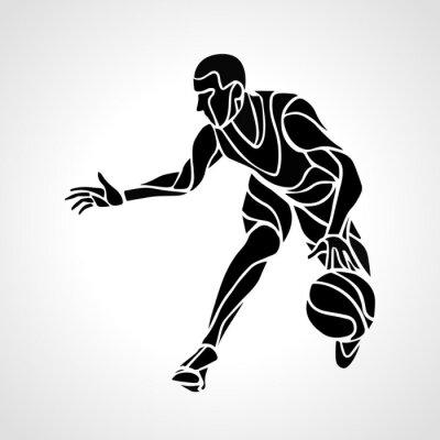 Nálepka Basketbalový hráč silueta abstraktní
