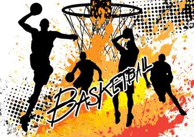 Nálepka basketbalový hráč týmu na bílém pozadí grunge