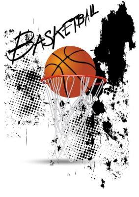 Nálepka basketbalový koš na bílém pozadí grunge