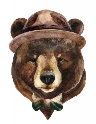 Nálepka Bear head akvarel