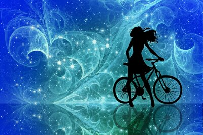 Nálepka Beautiful girl silhouette and bicycle on fantasy sky stars. Young woman in dress with long curly hair standing with bike on bright abstract space background.