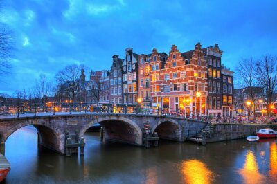 Nálepka Beautiful long exposure HDR image of the Brouwersgracht in Amsterdam, the Netherlands, a UNESCO world heritage site.