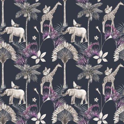 Nálepka Beautiful vector african safari animal tropical seamless pattern. Trendy style. Print with elephants and giraffe. Dark background,