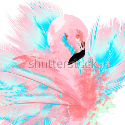 Nálepka Beautiful vector illustration with drawn pink flamingo and blue feathers