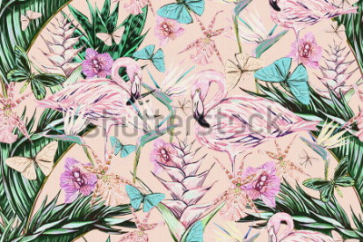 Nálepka  Beautiful vintage seamless floral jungle pattern background. Colorful watercolor tropical flowers, palm leaves and plants, butterflies, bird of paradise flower with pink flamingos, exotic print