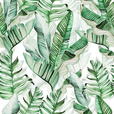 Nálepka Beautiful watercolor seamless pattern with tropical leaves and banana leaves.