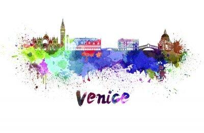 Nálepka Benátky panorama v akvarelu